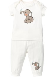 Baby T-Shirt + Shirthose (2-tlg. Set) Bio-Baumwolle, bpc bonprix collection, wollweiss