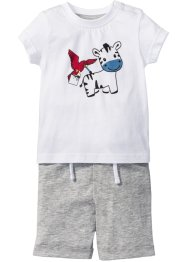 Baby T-Shirt + Shorts (2-tlg. Set) Bio-Baumwolle, bpc bonprix collection, weiss/hellgrau meliert