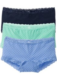 Panty (3er-Pack), bpc bonprix collection, mint/mittelblau/dunkelblau