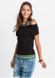 2-in-1 T-Shirt, RAINBOW, oliv geringelt