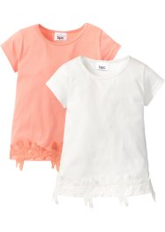 Lot de 2 T-shirts avec dentelle, bpc bonprix collection