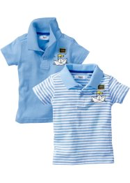 Baby Polo-Shirt (2er-Pack) Bio-Baumwolle, bpc bonprix collection, hellblau & hellblau/weiss