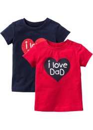 Baby-T-Shirt (2er-Pack) Bio-Baumwolle, bpc bonprix collection, rot/dunkelblau