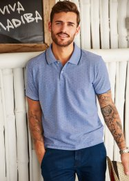 Poloshirt Minimalmuster Regular Fit, bpc selection, mitternachtsblau gepunktet