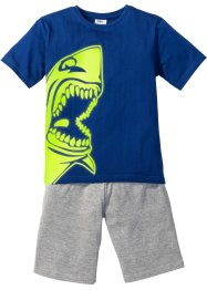 Shorty-Pyjama GLOW IN THE DARK, bpc bonprix collection, blau/hellgrau meliert