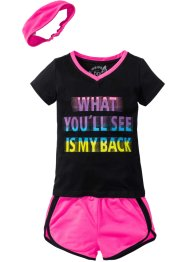Shirt + Shorts + Bandana (3-tlg.), bpc bonprix collection, schwarz/neonpink
