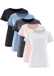 Basic Baumwollshirt Single-Jersey, bpc bonprix collection, perlrosa+perlblau+anthrazit meliert+weiss+schwarz