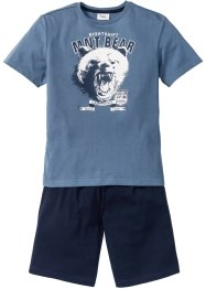 Shorty-Pyjama (2-tlg. Set), bpc bonprix collection, jeansblau/dunkelblau