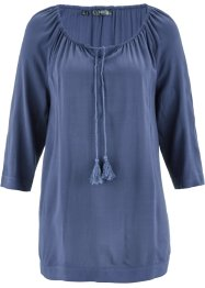 Blouse Carmen à manches 3/4, bpc bonprix collection, indigo