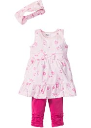 Robe + bandeau + legging 3/4 (Ens. 3 pces.), bpc bonprix collection, rose clair/rose flamant