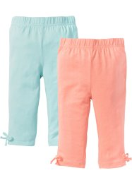 Lot de 2 leggings 3/4, bpc bonprix collection, pêche/menthe pastel