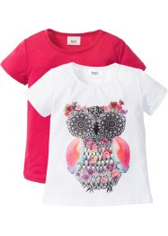 T-Shirts (2er-Pack), bpc bonprix collection, weiss Eule+hibiskuspink