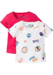 T-Shirt (2er-Pack), bpc bonprix collection, wollweiss Batges+hibiskuspink