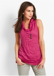 Crinkel-Shirt-Top, bpc bonprix collection, dunkelpink