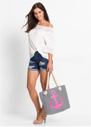 Strandshopper Anker, bpc bonprix collection, dunkelblau/pink/weiss