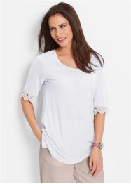 Leinenmix-Shirt mit Spitze, bpc bonprix collection