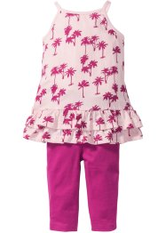 Robe à volants + legging 3/4 (Ens. 2 pces.), bpc bonprix collection, rose clair/fuchsia moyen imprimé