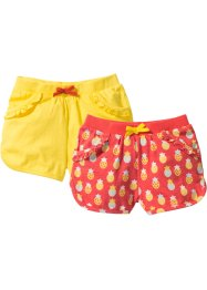 Lot de 2 shorts en jersey, bpc bonprix collection, capucine imprimé + jaune ananas
