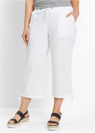 Pantalon corsaire en lin, bpc bonprix collection, blanc