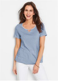 Shirt mit Gummizug, Halbarm, bpc bonprix collection, indigo gemustert