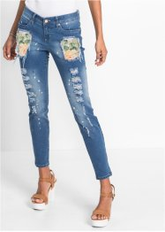 Bunte Jeans in Used-Optik, RAINBOW, blue bleached
