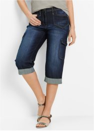 Cargo-Stretch-Jeans in Caprilänge, bpc bonprix collection, darkblue stone