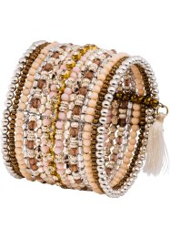 Bracelet avec perles, bpc bonprix collection, saumon/blanc/citron clair