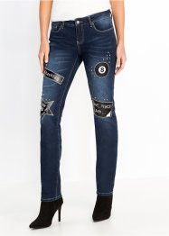 Slim Jeans mit Patches und Nieten, RAINBOW