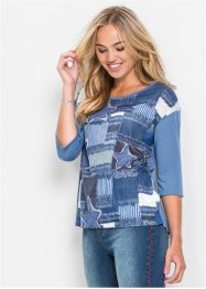 Shirt mit Denim-Print, RAINBOW