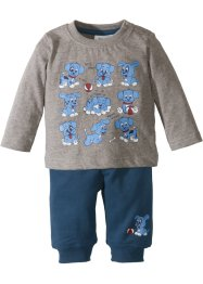 T-shirt bébé à manches longues + pantalon sweat (Ens. 2 pces.) coton bio, bpc bonprix collection
