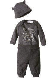 Body bébé + pantalon jersey + bonnet (Ens. 3 pces.) coton bio, bpc bonprix collection