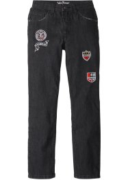 Slim Fit Jeans mit coolen Badges, John Baner JEANSWEAR