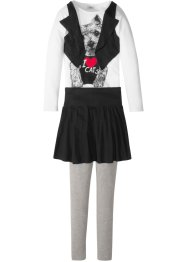 Shirt-Weste + Rock-Leggings (3-tlg. Set), bpc bonprix collection