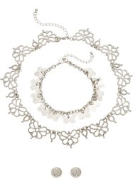 3-tlg. Schmuckset Strass, bpc bonprix collection