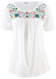 Bluse mit Stickerei, Kurzarm, bpc bonprix collection