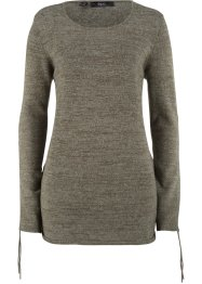 Pullover in Melange-Optik mit Raffungsdetail, bpc bonprix collection