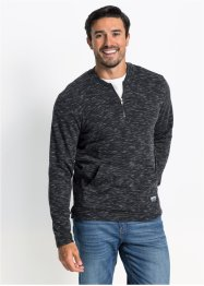 Meliertes Sweatshirt mit Baseballkragen Regular Fit, bpc bonprix collection