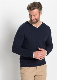 V-Pullover mit recylter Baumwolle, bpc selection