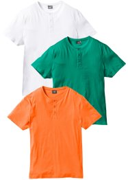 Lot de 3 T-shirts col Henley, bpc bonprix collection