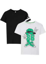 Lot de 2 T-shirts à imprimé, bpc bonprix collection