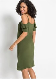 Cold-Shoulder-Jerseykleid mit Volants, BODYFLIRT
