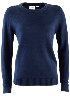Rundhals-Pullover, bpc bonprix collection, dunkelblau