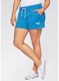 Sweat-Shorts (2er-Pack), bpc bonprix collection, meeresblau/hellgrau meliert