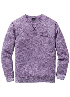 Pullover Regular Fit, bpc bonprix collection, weinbeere/weiss meliert