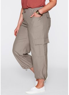 Lot de 2 pantalons 7/8, bpc bonprix collection, taupe/blanc