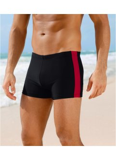 Herren Badehose, bpc bonprix collection, schwarz/rot