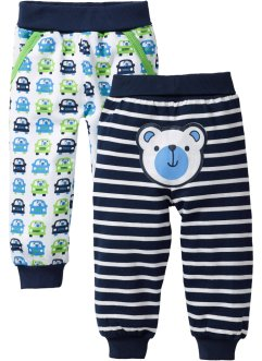 Baby-Sweathose (2er-Pack) Bio-Baumwolle, bpc bonprix collection, dunkelblau/weiss gestreift