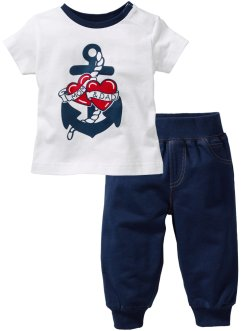 Baby-T-Shirt + Sweathose (2-tlg) Bio-Baumwolle, bpc bonprix collection, dunkelblau/weiss