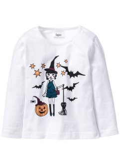 "Langarmshirt ""Glow in the Dark"" Halloween, bpc bonprix collection, weiss bedruckt"