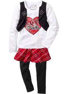 Shirt + Rock + Leggings (3-tlg. Set), bpc bonprix collection, rot/schwarz/weiss